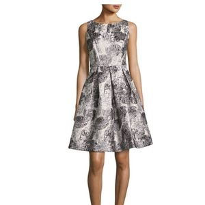 Nicole Miller jacquard fit and flare dress